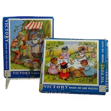 Two Vintage Miniature Wooden Puzzles
