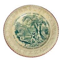 19th Century Child's Green Alphabet Plate