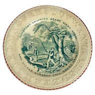 19th Century Child's Green Alphabet Plate