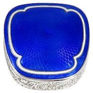 Russian Silver Blue Guilloche Enamel Box