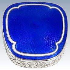 Russian Silver Blue Guilloche Enamel Box
