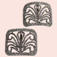 Large 20th Century French Steel Cut Shoe Buckles