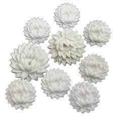 Vintage Set of Nine White Chrysanthemum Push Pins