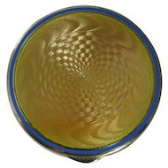 Edwardian Sterling Silver Yellow Guilloche Compact