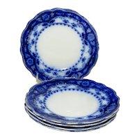 "Set Of Five Flow Blue 7"" ""Crumlin"" Pattern Plates"
