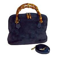 Vintage Gucci Navy Suede Leather Bamboo Handbag