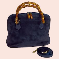 Vintage Gucci Navy Suede Leather Bamboo Handbag