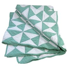 Vintage Handmade Green and White Baby Quilt