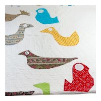Whimsical Vintage Bird Motif Baby Quilt