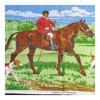 "Vintage Irish Linen Tea Towel ""Horse and Hounds"""