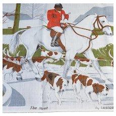 "Vintage Irish Linen Fox Hunting Tea Towel ""The Meet"""
