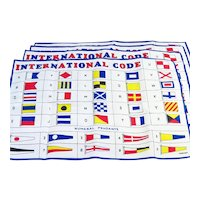 Vintage Set Of Linen International Code Of Signal Flags Placemats