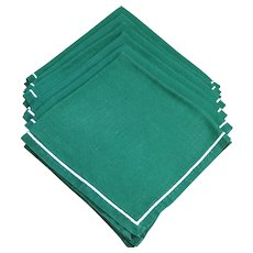 Vintage Set Of Six Hunter Green Pure Linen Napkins