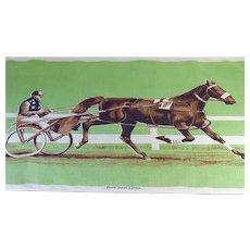 "Vintage Irish Linen ""Standardbred Harness Horse"" Tea Towel"