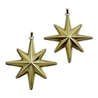 Pair of Reed & Barton 1976 Gilt Sterling Silver Christmas Star Ornaments