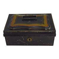 Vintage Metal Black Painted Cash Box