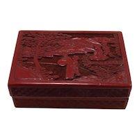 Vintage Cinnabar and Black Lacquer Rectangular Box