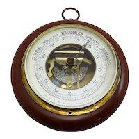 Vintage German Mahogany and Brass Barometer