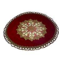 Vintage Round Cut Velvet Silk And Metallic Doily