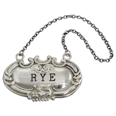 """Vintage Sterling Silver """"Rye"""" Decanter Label"""