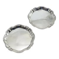 Pair Of Sterling Silver Butter Pats by Deakin and Francis