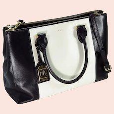 "Ralph Lauren Leather Black And White ""Newbury"" Satchel"