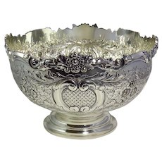 Vintage Silver Plated Hand Chased Punch Bowl