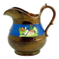 Victorian Hand Painted Copper Lustre Jug With Shepherd And Flowers