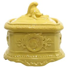 Rare 19th Century Yellow Ware Lidded Jar
