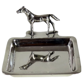 Art Deco Sterling Silver Horse Pin Tray