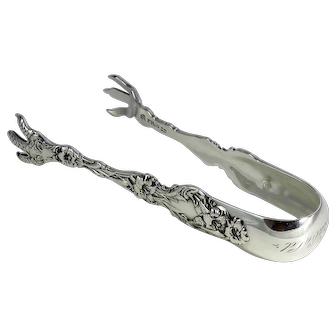 Whiting Sterling Silver Tongs Lily Pattern