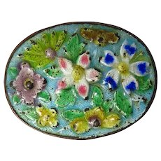 Small Vintage Chinese Floral Enamel Box