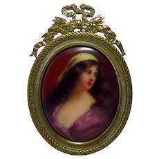 Antique Continental Miniature Portrait of Ayesta