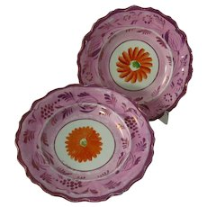 Pair of Victorian Pink Lustreware Plates