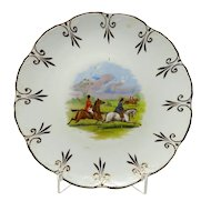 Vintage Fox Hunting Scene With Fleur de Lis Border