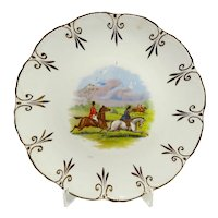 Vintage Fox Hunting Plate With Fleur De Lis Border