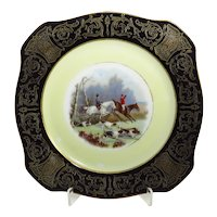 Vintage Fox Hunting Plate With Black Border