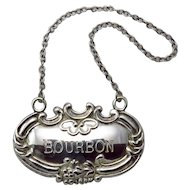 "Vintage Sterling Silver ""Bourbon"" Decanter Label"