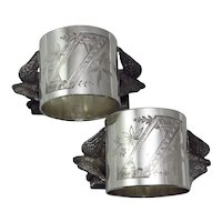 """Pair of Victorian Silverplate """"Dove"""" Figural Napkin Rings"""