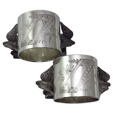 "Pair of Victorian Silverplate ""Dove"" Figural Napkin Rings"