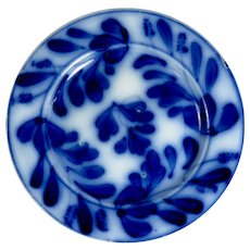 "Victorian Flow Blue ""Spinach"" Pattern Plate"