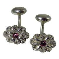 Victorian Sterling Silver Floral Garnet Cufflinks