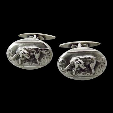 Vintage 800 Silver Retriever Dog Cufflinks