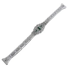 Art Deco White Metal Filigree Watch Band With Green Stones