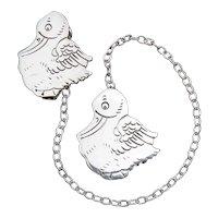 """Vintage Sterling Silver """"Duck"""" Webster Co. Bib Clips"""