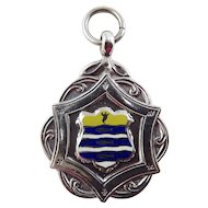 Art Deco Sterling Silver Blue and Yellow Enamel Fob