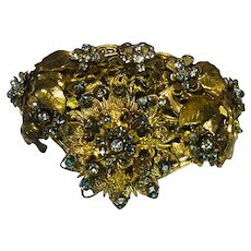 Exquisite Vintage Miriam Haskell Gold Tone and Rhinestone Brooch