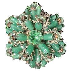 Miriam Haskell Green Glass Bead and Rhinestone Brooch