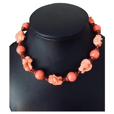 Miriam Haskell Coral Colored Necklace