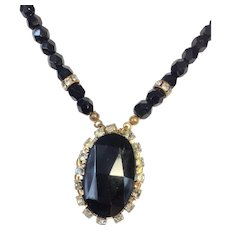 Miriam Haskell Black Beaded and Rhinestone Necklace